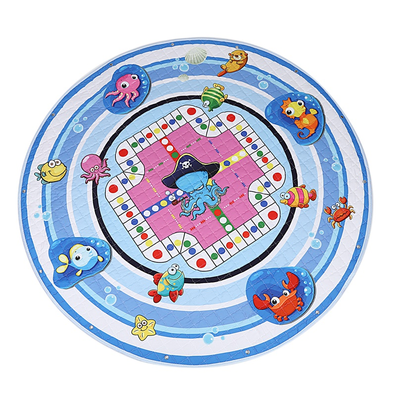 Baby Play Mat,Round Baby Nursery Rugs And Portable Toy Organizer Storage Toys Bag,Washable Crawling Mat With Drawstring 59X59 In