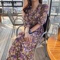 Платье BGTEEVER женское с V-образным вырезом, элегантное шикарное шифоновое фиолетовое, с высокой талией, с цветочным принтом, весна-лето 2021