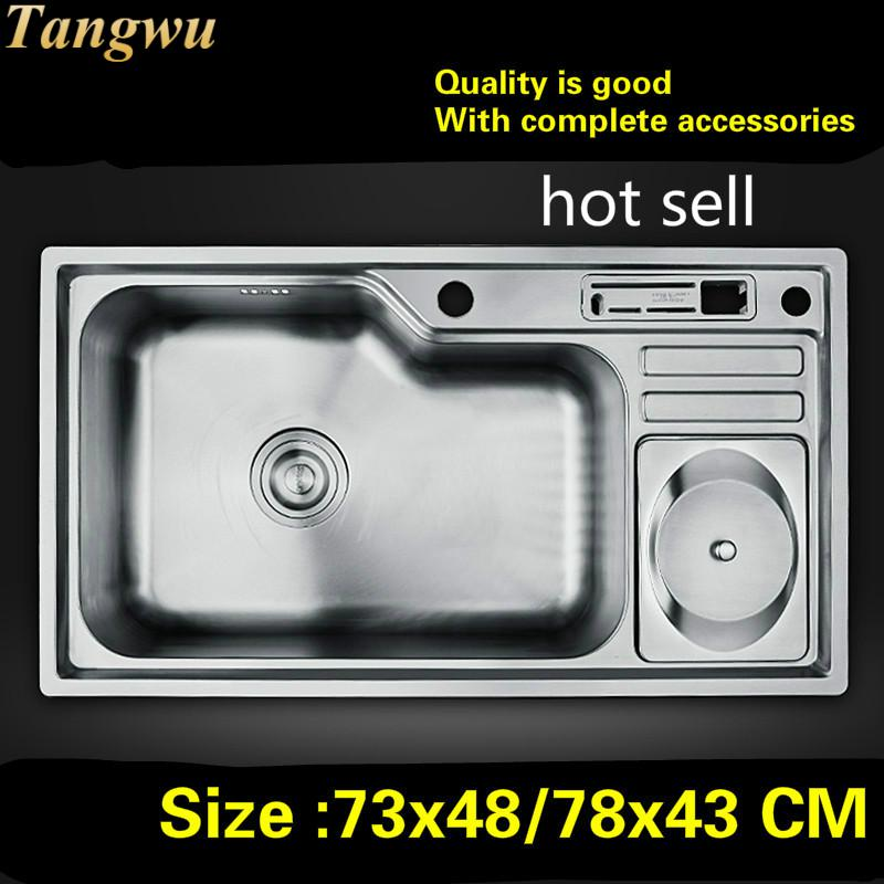 Free Shipping Household Kitchen Single Trough Sink Do The Dishes 304 Stainless Steel Hot Sell 730x480/780x430 MM