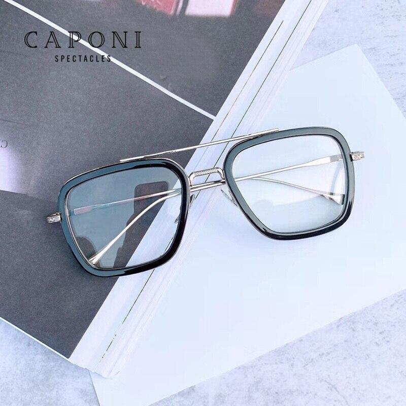 CAPONI Iron Man Anti Blue Ray Photochromic Computer Glasses Fashion Eyewear Men/Women UV400 Blue Light Blocking Glasses BSF66218