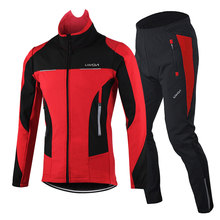 Winter Thermal Cycling Jacket Long Sleeve Windproof Warm Bike Bicycle Jacket with 3D Padded Pants Trousers Men Cycling Windcoat(China)