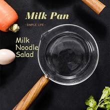 Glass Cooking Pot Milk Instant Noodle Pot Soup Stock Porridge Pots Wooden Handle Open