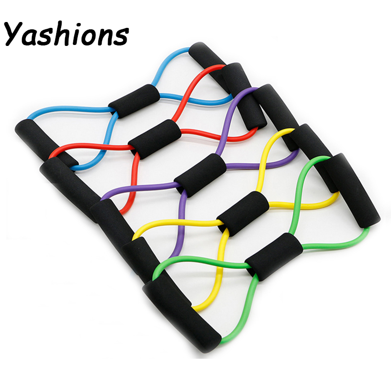 8 Word Type Resistance Band Chest Fitness Yoga Pilates Pull Ropes Tube  Training Stretch Cross Fit Equipment Elastic Band