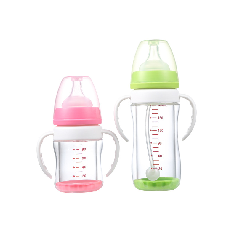Wide Aperture Explosion-Proof Glass Infant Bottle Plans to Sample Double Layer Protection Wide Aperture Glass Feeding Bottles image