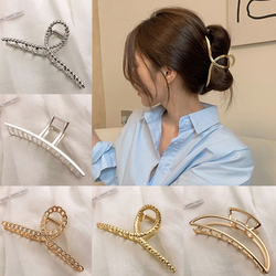Simple Metal Hollow Out Geometric Hair Claw Ladies Elegant Hair Accessories Cross Crab Bath Clip For Women Fashion Girl Headwear