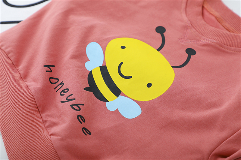 HYLKIDHUOSE 2020 Spring Toddler Infant Clothing Sets Baby Girls Boys Clothes Honeybee T Shirt Jeans Children Vacation clothing