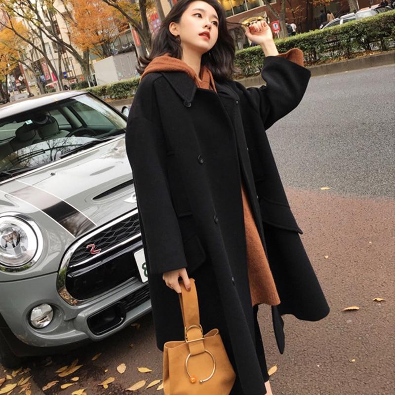 2019 New Autumn Winter Fashion Woolen Coat Female Double Breasted Korean Version Warm Long Woolen Coat Tide Cc1559