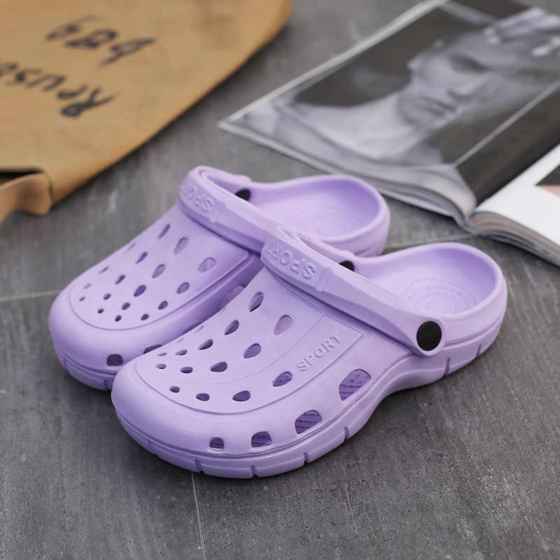 Cặp Đôi Nữ Giày Nữ Bít Tắc Lỗ Giày Nam Đi Biển Bộ Lông Mùa Đông Đèn Giày Dép Trong Nhà Ngoài Trời Mùa Hè Lội Giày Sneaker Giải Trí Giày
