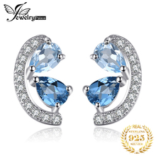 JewelryPalace 0.8ct Genuine Sky Blue Topaz and London Blue Topaz Cluster Stud Earrings 925 Sterling Silver Earrings for Women