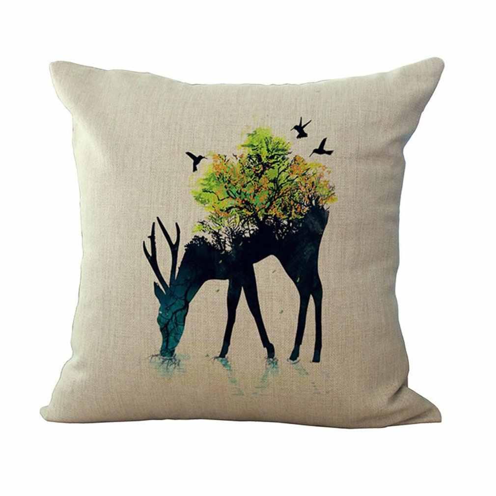 Werfen Kissen Abdeckung Nette Deer Polyester Weichen Bequemen Kissen Gehäuse Auto Fahrzeug Büro Süße Schlafen Haushalt