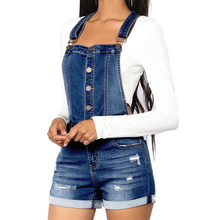 Pop Women Denim Overall Shorts Mini High Waist Solid Summer Casual Jeans Pants Pop 88(China)