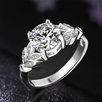 1PC Hot Crystal Leaf Engagement Ring 1