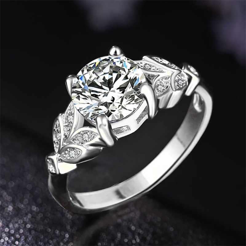 Vienkim 1 pc ホットクリスタル銀色の女性婚約リングジルコンキュービック優雅な女の子ホワイトローズゴールデンリングサイズ 6 7 8 9
