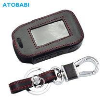 Deri anahtar kutu StarLine A92 A94 A62 A64 A95 iki yönlü araç alarmı LCD uzaktan kumanda verici anahtarlık koruyucu kapak çanta