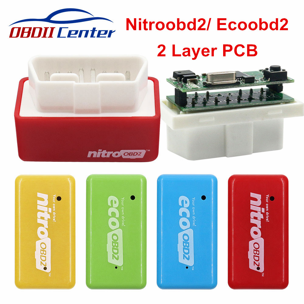 2019 Nitro Obd2 Benzine Diesel Chip Tuning Box Nitroobd2 Eco Obd2 Gasoline 2PCB Plug Drive Flash Ecu More Power Torque Save Fuel