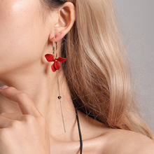 Han edition popular petals asymmetric women red tassel earrings sex circle fine jewelry
