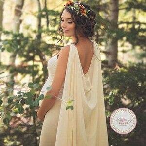 Sukienka ciążowa eleganckie kobiety Pregnants fotografia rekwizyty Off Shoulder bez rękawów macierzyństwo jednolita sukienka szata fruwające płaszcz