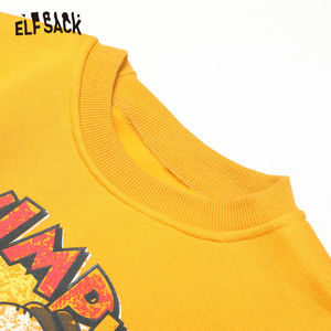 Image 5 - ELFSACK Yellow Cartoon Print Casual Pullover Sweatshirt Women Clothes 2020 Spring New Long Sleeve Ladies Korean Daily Work Tops