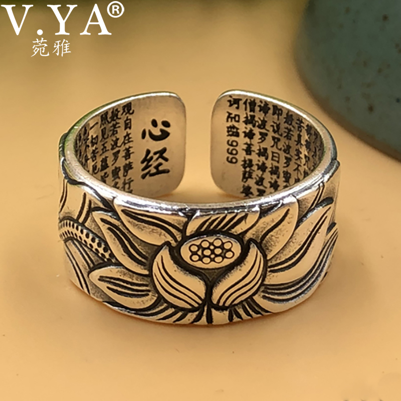 V.YA 999 Silver Lotus <font><b>Ring</b></font> Vintage Amulet Buddha Lotus Baltic <font><b>Buddhist</b></font> Scriptures Opening <font><b>Ring</b></font> For Men Women Silver Jewelry Gift image