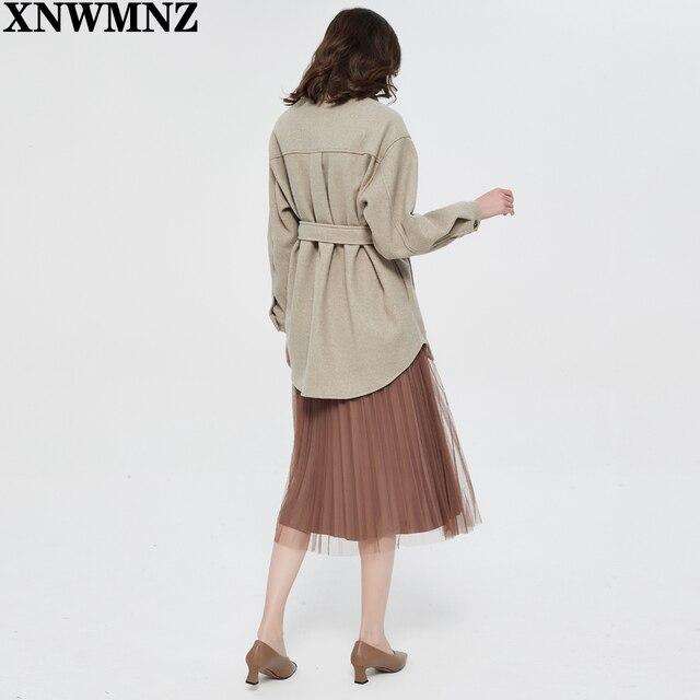 XNWMNZ Za Women 2020 Fashion With Belt Loose Woolen Jacket Coat Vintage Long Sleeve Side Pockets Female Outerwear Chic Overcoat 6