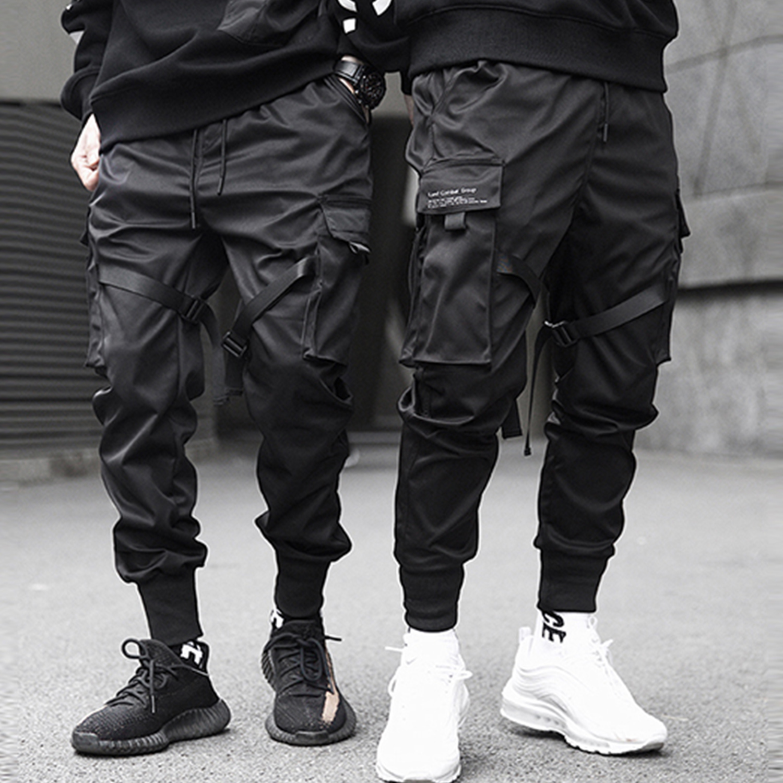LACIBLE Ribbons Hip Hop Cargo Pants Men Black Pocket Streetwear Harajuku Techwear Pants Trousers Harem Joggers Sweatpants