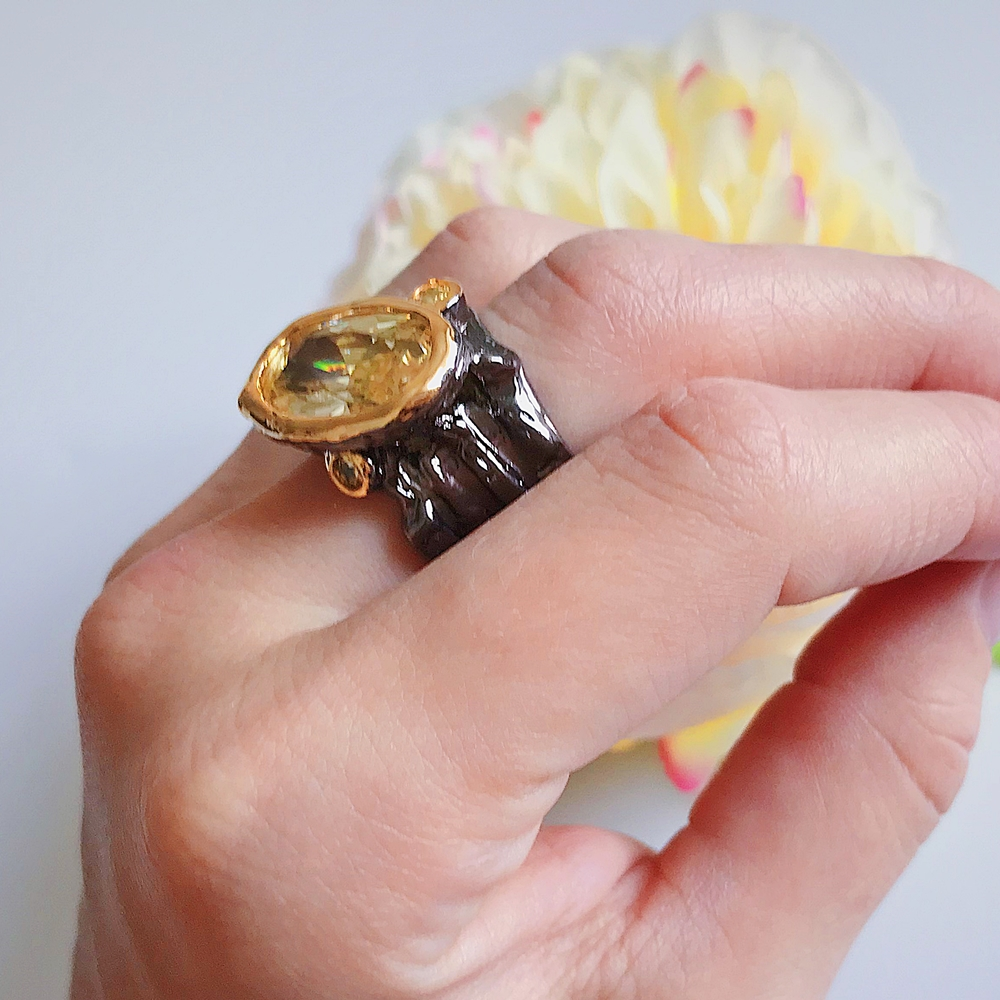 Dreamcarnival1989 Wedding-Ring Jewelry Irregular-Cut-Band Gold-Color Gothic Very-Big