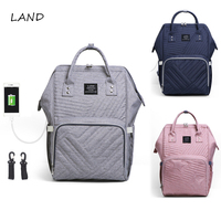 LAND Large USB Diaper Bags Large Nappy Bag Upgrade Fashion Travel Backpack Waterproof Maternity Bag Mummy Bags with 2 Hooks