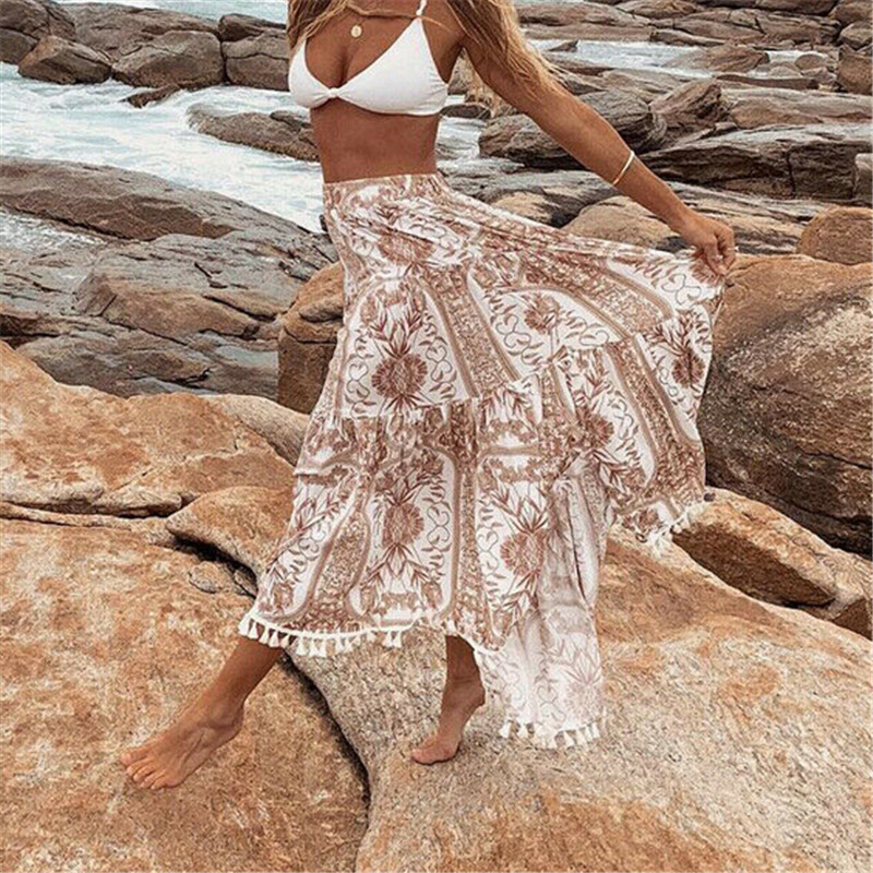 Summer Women Chiffon Summer Skirts Lady Long Maxi Skirt Bohemian Skirt Elegant Woman Floral Printed Boho Beach High Waist Skirts