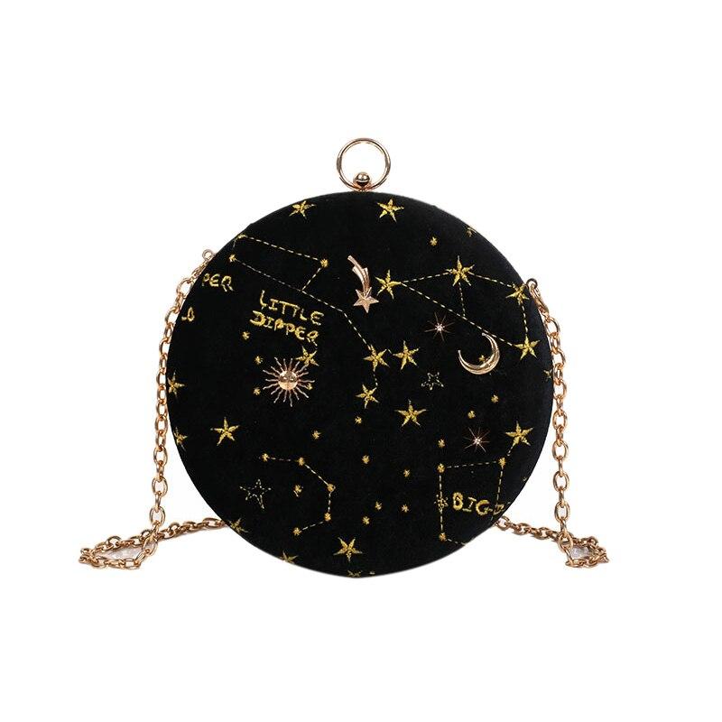 Starry Sky Circular Fashion Suede Shoulder Bag Chain Belt Women'S Crossbody Messenger Bags Ladies Purse Female Round Handbag Bla