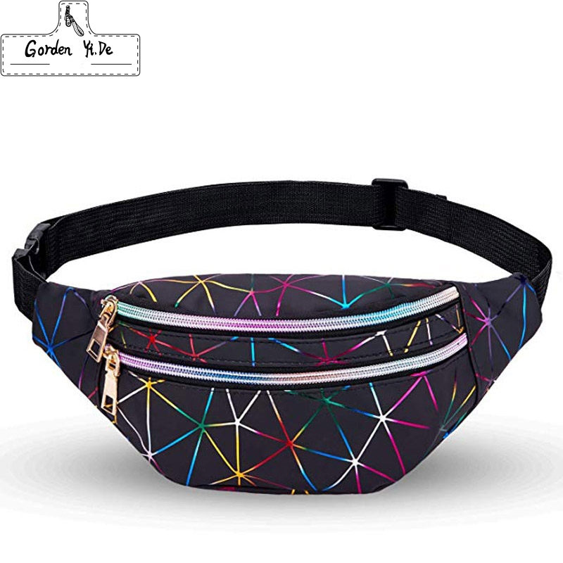 Holographic Fanny Packs For Women Waterproof Waist Packs Shiny With Adjustable Belt Diamond Lattice Pattern For Party Festival
