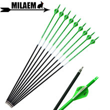 6/12pcs 31.5inch Archery Carbon Arrow Spine 500 ID6.2mm 2inch Rubber Feather Replaceable Arrowhead Hunting Shooting Accessories