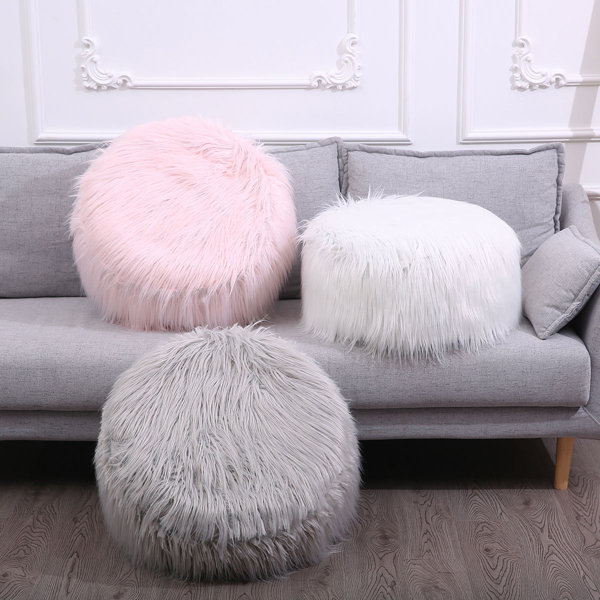 Shaggy Detachable Inflatable Bean Bags Stool Soft Fluffy Futon Faux Fur Portable Footstool Stool Cloth+Inflatable Stool+Pump D20