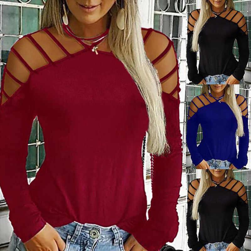 2019 סתיו ארוך שרוול סקסי חולצות לנשים הולו מתוך חולצות סיבתי בתוספת גודל Loose חולצות שחור לבן אפור אדום tees נקבה