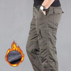 Image 4 - Pantalons Cargo pour hommes, pantalon Cargo en molleton épais pour hiver, décontracté coton, style militaire tactique Baggy, chaud, grande taille 3XL
