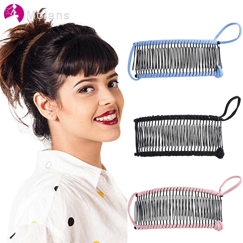 MOLANS New Banana Comb Hair Clip For Women Easy Hairstyles Fashion Hair Accessories Stretchable Hair Comb Headwear 2020