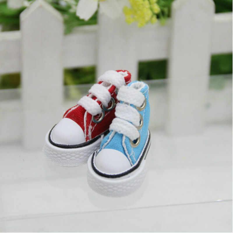 1 paar Nette Spitze Up Denim Leinwand Schuhe Passt 12 zoll für BJD für mädchen Puppen Stiefel Sneackers Russische Zubehör puppe Schuhe