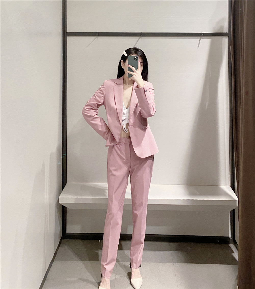 H8cc626e029ca457a8e6338b69931bf57P - Autumn Women Pant Suits Pink Single Button Blazer Jacket+Zipper Trousers Office Ladies Suits Two Piece Set Female Outwear