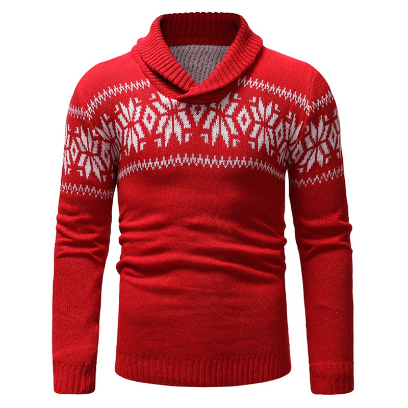 2019 New Autumn Winter Men'S Sweater Men'S Lapel Snowflake Print Casual Sweaters Men's Slim Fit Brand Knitted Pullovers