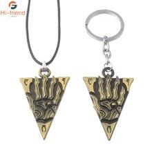 SC Game The Elder Scrolls Keychain Morrowind Logo Pendant Triangle Keyring Backpack accessories Women Men Jewelry Gift