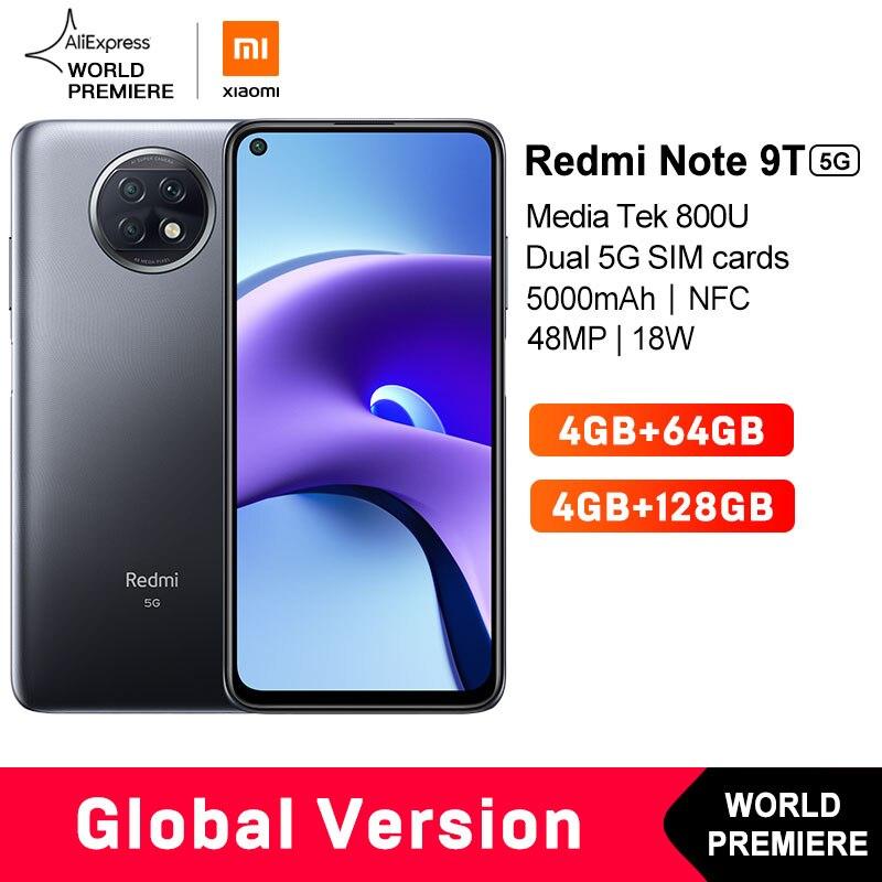 Estreia mundial em estoque xiaomi redmi note 9t 4gb 64gb/128g nfc smartphone com dupla 5g sim cartões 5000mah 48mp câmera