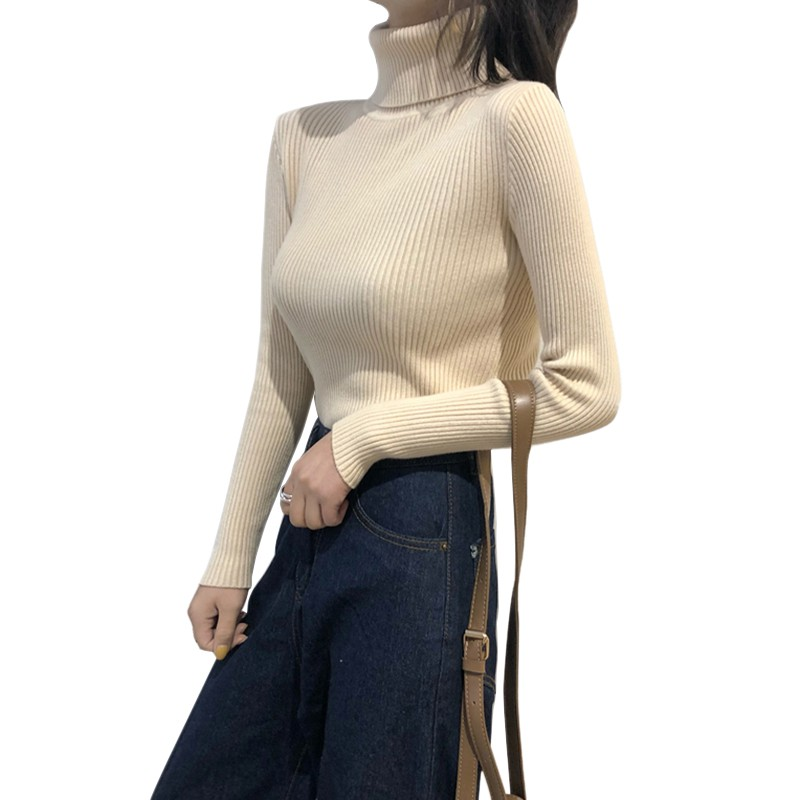 Wholesale Autumn Fall Women Sweater Slim Soft Long Sleeve High Neck Knit Pullover Sexy Slim Stretch Turtleneck Black Sweaters 6