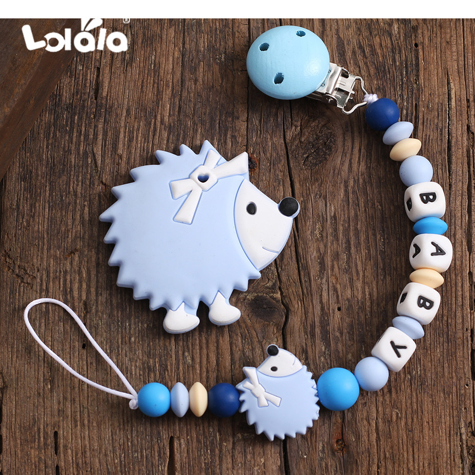 Personalised Name Baby Pacifier Clip Chain Hedgehog Silicone Pendant Teether Beads Holder For Infant Nipple Teething Toys Baby G