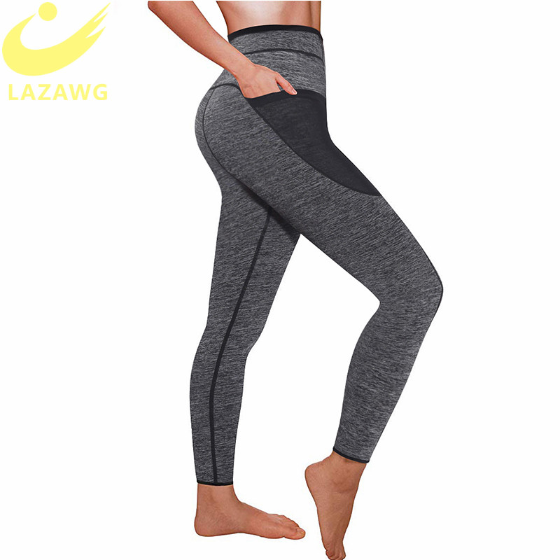 LAZAWG Women Sauna Weight Loss Slimming Neoprene Pants with Side Pocket Hot Thermo Fat Burning Sweat Leggings Thighs Slim Capris