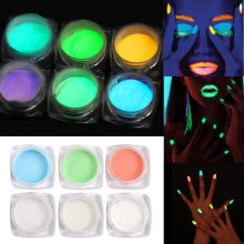Kuku Glitter Set Neon Fosfor Bubuk Debu Luminous Pigmen Fluorescent Noctilucent Bubuk Glow In The Dark Kuku Aksesoris(China)