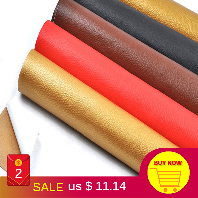 50x135cm Large size leather patch Self Adhesive Stick-on No Ironing Sofa Repairing Leather PU Fabric Stickers Patches Scrapbook(China)