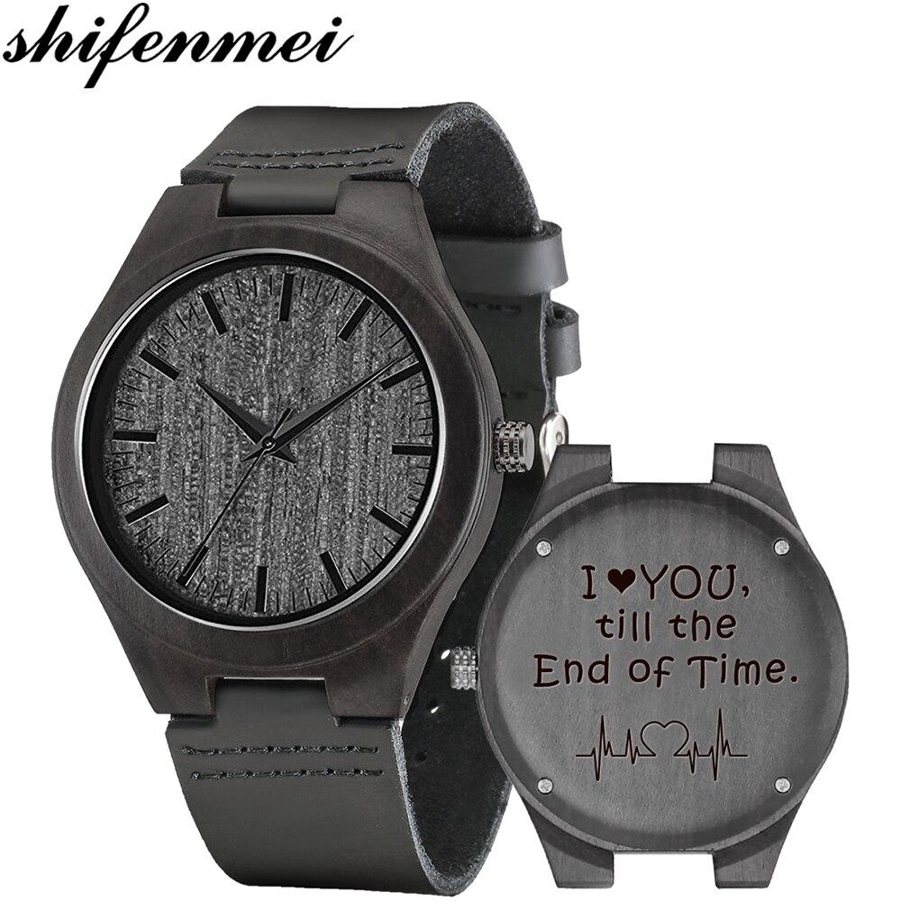 Engraved Wood Watches Personalized Quartz Watch Men luxury Brand Father's Gift Anniversary Gift for Men Women erkek kol saati
