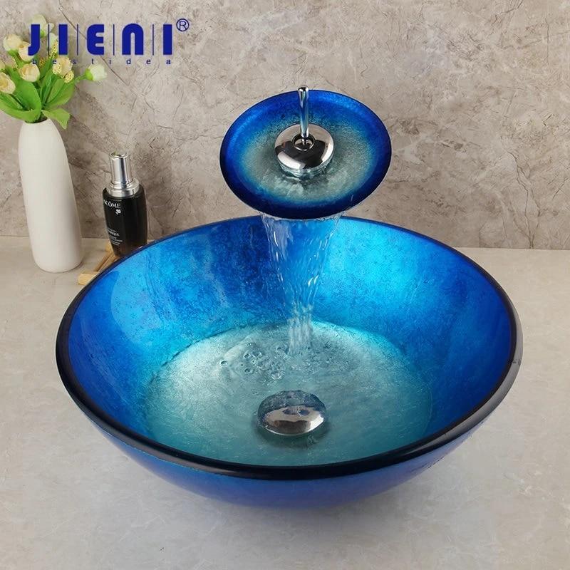 Jieni Blue Tempered Glass Washbasin Chrome Tall Basin Tap Bathroom Sink Hand Painted Waterfall Bath Brass Faucet Mixer Tap Set Bathroom Sinks Aliexpress