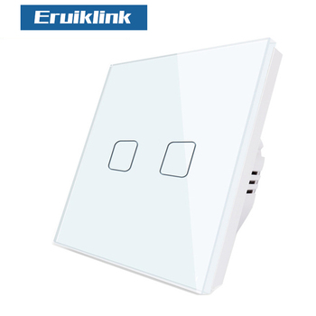 EU/UK Standard Eruiklink Wall Switch, Light Touch Switch 2 Gang 1 Way AC110V-240V Wall Touch Switch цена 2017