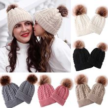 Baby hat 1Set 2pcs Fashion Mom And Baby Knitting Keep Warm Hats 2019 Newest 4 Models 5 Colors Winter Children's Hats Accessories(China)