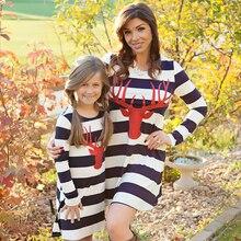 Платье для мамы и дочки; рождественское длинное платье-рубашка в полоску с принтом оленя и лося; Одинаковая одежда для семьи; сезон осень